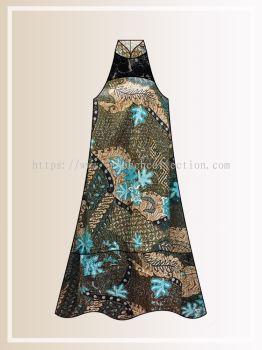 BTK(D)112 Pre-order Batik & Lace Cut in Maxi Dress