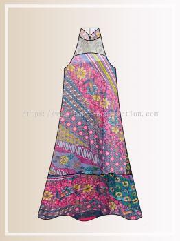 BTK(D)115 Pre-order Batik & Lace Cut in Maxi Dress