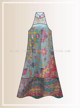BTK(D)117 Pre-order Batik & Lace Cut in Maxi Dress