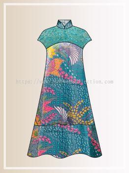 BTK(D)118 Pre-order Batik & Lace Short Sleeve Maxi Dress