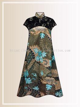 BTK(D)121 Pre-order Batik & Lace Short Sleeve Maxi Dress