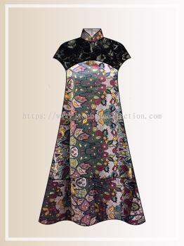 BTK(D)122 Pre-order Batik & Lace Short Sleeve Maxi Dress