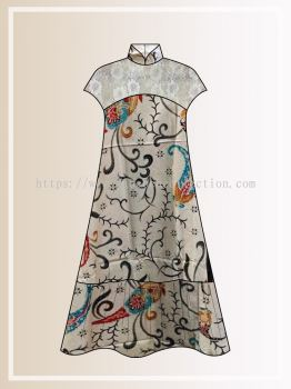 BTK(D)123 Pre-order Batik & Lace Short Sleeve Maxi Dress