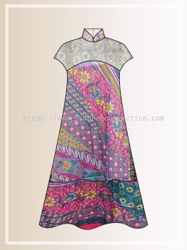 BTK(D)124 Pre-order Batik & Lace Short Sleeve Maxi Dress