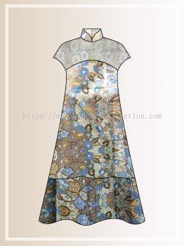 BTK(D)125 Pre-order Batik & Lace Short Sleeve Maxi Dress