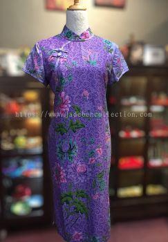 BTK(D)135 Batik Fitting Qipao with Sleeve - Mandarin Collar