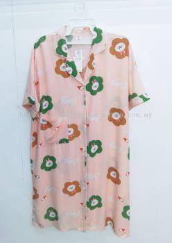 PLUS SIZE Cotton Silk Shirt Nightdress