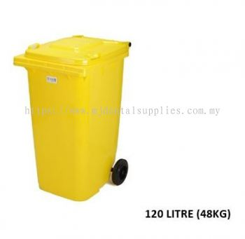 TWO WHEEL BIN WITHOUT LOCK,WITHOUT PRINTING, YELLOW, 120LITRE (48KG),MEDICAL APPARATUS