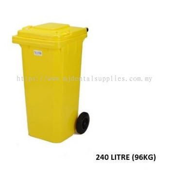 TWO WHEEL BIN WITHOUT LOCK,WITHOUT PRINTING, YELLOW, 240LITRE (96KG),MEDICAL APPARATUS
