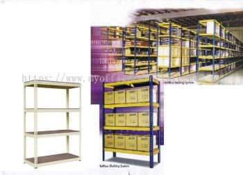 BOLTLESS RACK 1'W x 8'L x 6'H WITH 4 LEVEL FIBREBOARD (RM 349.00/UNIT)