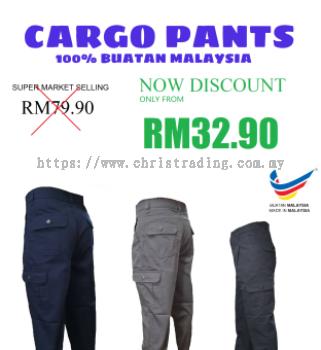 [READY STOCK] 2020 New SELUAR CARGO KERJA BUATAN MALAYSIA 6 pockets Long Cargo pants men seluar kocek - Paris Trading Company