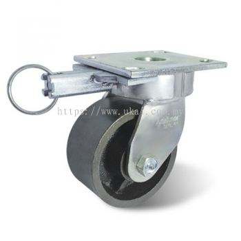IMPAK KINGPINLESS BRAKE CASTOR C/W SEMI STEEL WHEEL