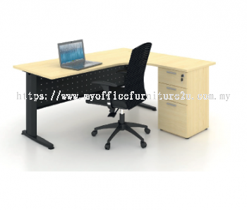 JL2D1F1215  J Leg with L Shape Table and Fixed Pedestal 1200/600L x 1500/600W x 750H mm (Maple)