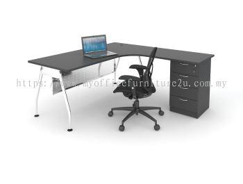 ALD1515  A-Leg with L Shape Table and Fixed Pedestal 1500/600L x 1500/600W x 750H mm (Walnut)