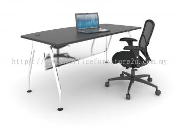AD1575 A Leg with D Shape Table 1500L x 750/600D x 750H mm (Walnut)