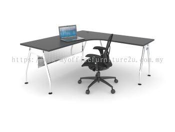 AL1518 A Leg with L Shape Table 1500/750L x 1800/600W x 750H mm (Walnut)