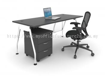 AR3D1875 A Leg with Rectangular Table and Mobile Pedestal 1800L x 750D x 750H mm (Walnut)