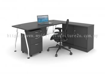 AD2D1F1875 A Leg with D Shape Table, Side Cabinet and Mobile Pedestal 1800L x 750/600D x 750H mm (Walnut)