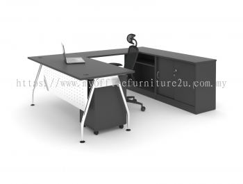 ARSR1575  A Leg with Rectangular Table, Side Cabinet and Mobile Pedestal  1500L x 750D x 750H mm (Walnut)