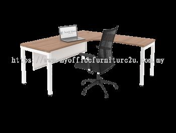 UL1518 U Leg with L Shape Table 1500/750L x 1800/600W x 750H mm (Cappuccino)