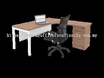 UL2D1F1215 U Leg with L Shape Table and Fixed Pedestal 1200/600L x 1500/600W x 750H mm (Cappuccino)