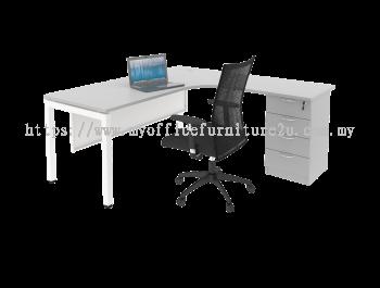 UL4D1518 U Leg with L Shape Table and Fixed Pedestal 1500/700L x 1800/600W x 750H mm (Light Grey)