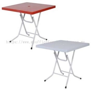 881 Square Plastic Folding Table 800W x 800D mm (Red)