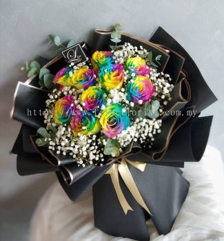 Rainbow Rose Bouquet - LILAC FLORIST & GIFT SHOP