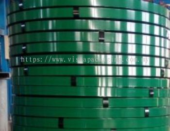 GREEN PAINTED STEEL STRAPPING BAND