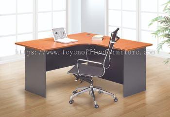 L Shape Table with 3d mobile pedestal