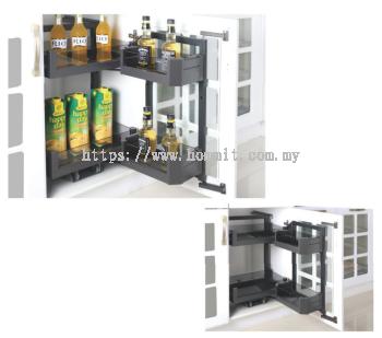 Aluminum Alloy Glass Bottom Cabinet Moving Basket
