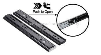 Push To Open Full Extension Ball Bearing Drawer Slide (Black)