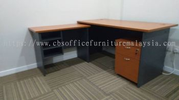 FREE DELIVERY & INSTALLATION RECTANGULAR WRITING OFFICE TABLE WITH SIDE TABEL & MOBILE PEDESTAL 1D1F GT 157 SET OFFICE FURNITURE | BANDAR BUKIT PUCHONG | PUCHONG | SELANGOR