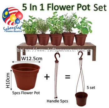 "13cm Pasu Pokok Bunga 5"" Flower Pot (5 in 1) L1050/5 pcs"