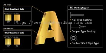 3D STAINLESS STEEL GOLD LETTERING