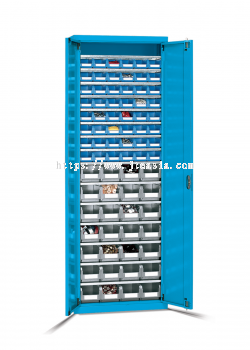 700 x 270 x 2000(h)mm Professional Heavy Duty 15-Shelf Parts Storage Cabinet with Doors and Lin Bins (Model 6)