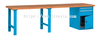 Professional Heavy Duty Pedestal Type/Single Cabinet Double Section Working Bench with Beech Desktop