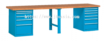 Professional Heavy Duty Pedestal Type/Twin Cabinet Double Section Working Bench with Beech Desktop