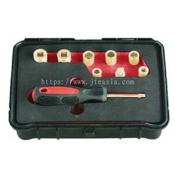 """9Pc Metric 1/4"""" Dr. Safety Socket Set - Al-Br"""