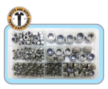 180pc M3/M4/M5/M6/M8/M10/M12 Stainless Steel Nyloc Nut Set