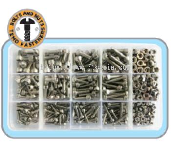 400pc M3/M4/M5 Stainless Steel Cap Screw & Hex Nut Set