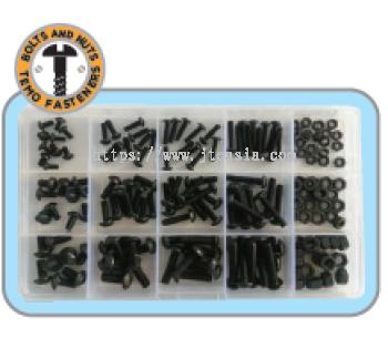 168pc M3/M4/M5 Button Socket Cap Screw & Nut Set - Grade 10.9/Black