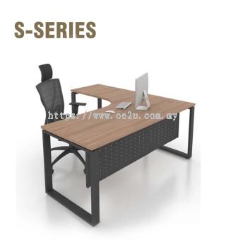 L-Shape Table c/w Matrix Square Leg