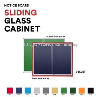 Aluminum Sliding Glass Cabinet Notice Board (Velvet Board)