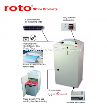ROTO S500 HS-5 Paper Shredder (Fine Cut: 0.8x12 mm)_Made in Germany