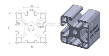 Aluminium Profile 40 x 40 (2 Slot)