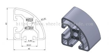 Aluminum 40 x 40 (R90) (2 Slot) Corner Radius Profile