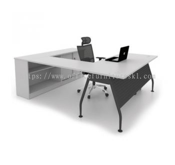MADISON EXECUTIVE OFFICE TABLE/DESK L-SHAPE & SIDE CABINET (Color Grey) - Hot Item Executive Office Table | Executive Office Table Technology Park Malaysia | Executive Office Table Bukit Gasing | Executive Office Table Taman Connaught