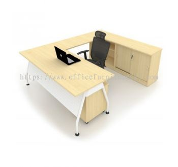 MADISON EXECUTIVE OFFICE TABLE/DESK L-SHAPE & SIDE CABINET (Color Maple) - Best Buy Executive Office Table | Executive Office Table PJ New Town | Executive Office Table Sea Park PJ | Executive Office Table Cheras Leisure Mall