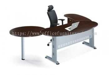 QAMAR OVAL SHAPE EXECUTIVE OFFICE TABLE QMB 33 W/O TEL CAP (Front View) - Mid Year Sale Executive Office Table | Executive Office Table Bandar Botanik | Executive Office Table Bandar Baru Klang | Executive Office Table Taman Connaught